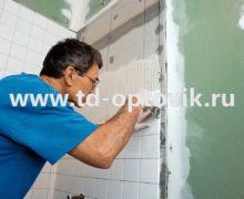 Облицовка стен гипсокартоном, монтаж полок и ниши в ванной комнате