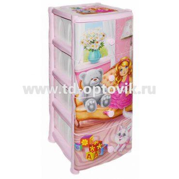 """Комод 4-х секционный Violet с декором """"Кукла"""""""